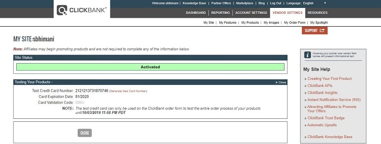 test credit card to test products in clickbank