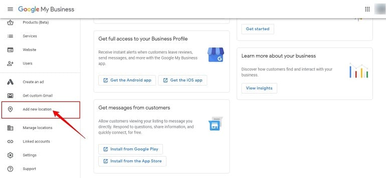 add new location to google my business listing