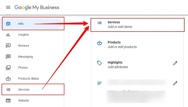 services option in info tab