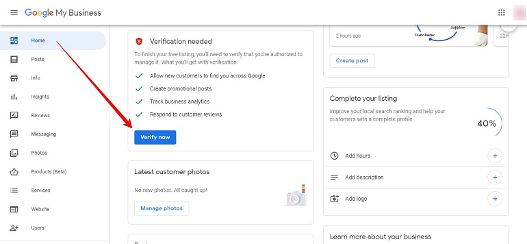 verify new business listing via mail in gmb tool