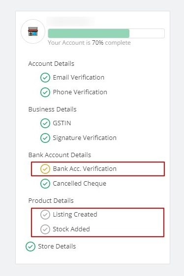 70% account complete showing pending details