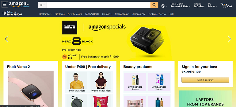 Amazon india marketplace home page