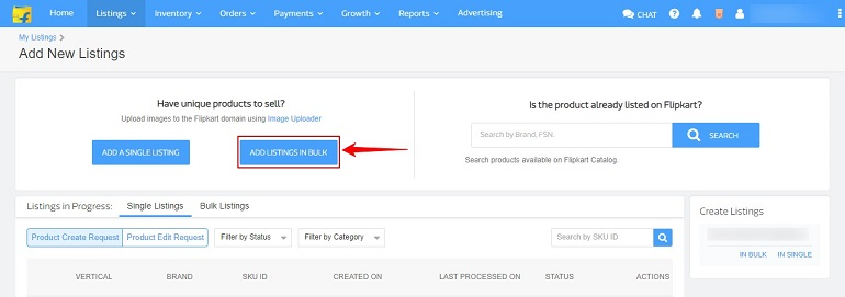 add listings in bulk button in flipkart