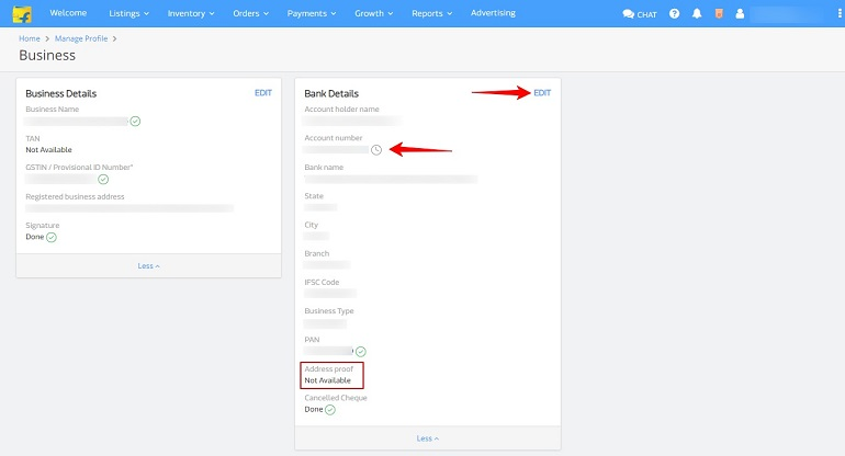 business and bank details in manage profile in flipkart