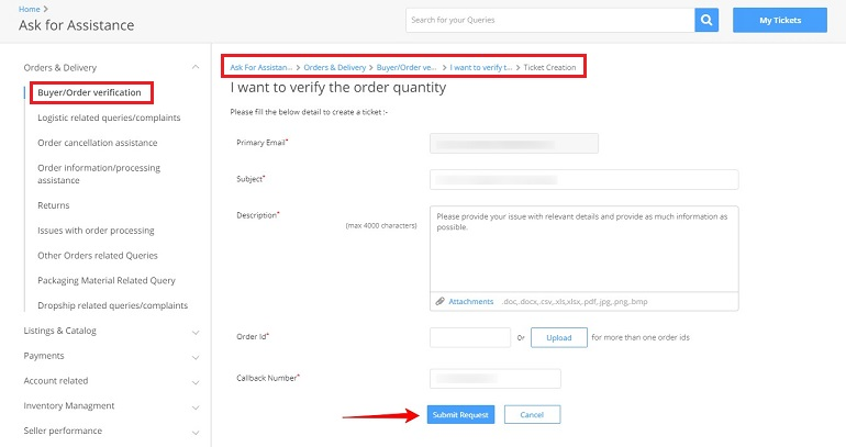 create ticket in flipkart seller support