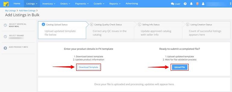 download & upload excel file templates in flipkart