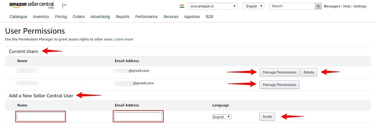 permissions manager page in amazon india