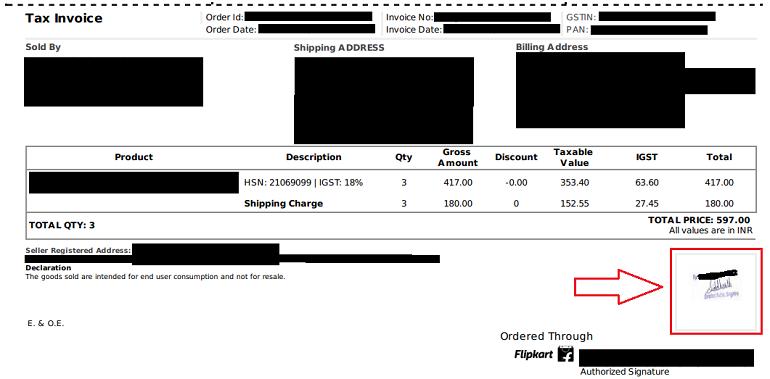sample flipkart tax invoice with company stamp & signature