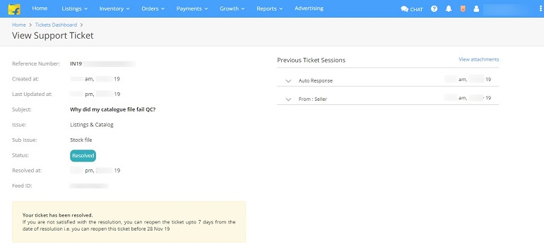 view support ticket page in flipkart ticket dashboard