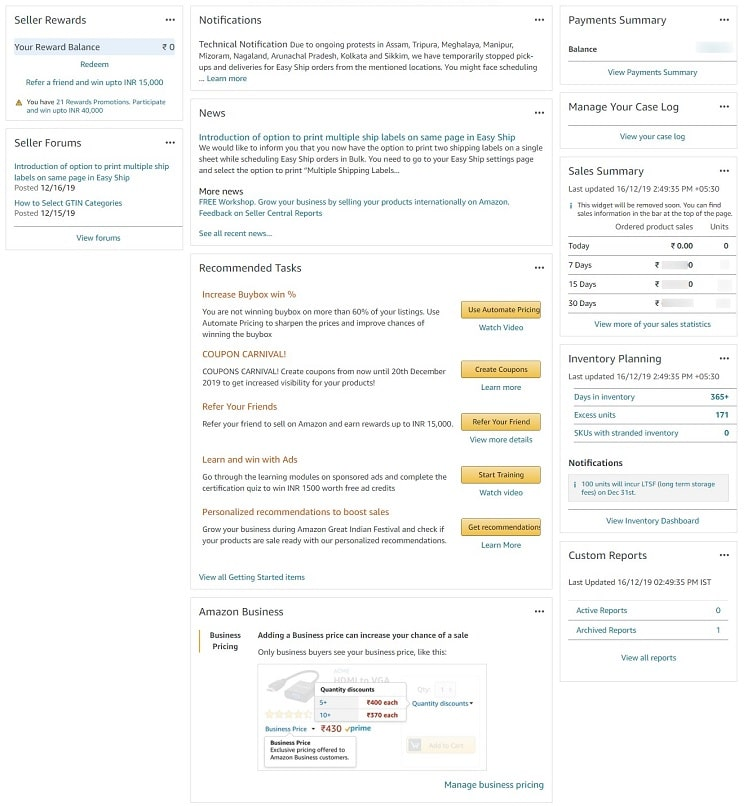 Amazon india seller central dashboard interactive widgets