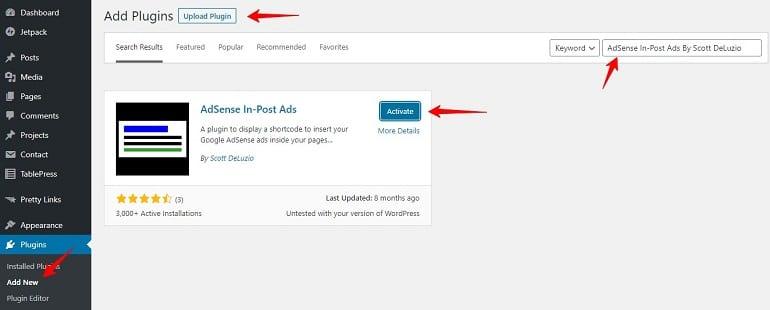 adsense in post ads plugin in wordpress