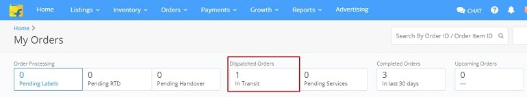 dispatch order details in flipkart