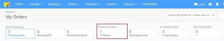 dispatch order details in flipkart