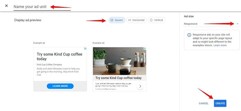 display ad unit in manual ads in google adsense