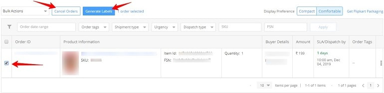 generate labels in flipkart to process orders