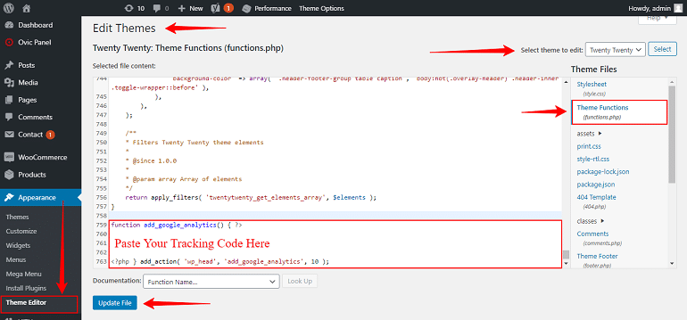 google analytics code in functions dot php