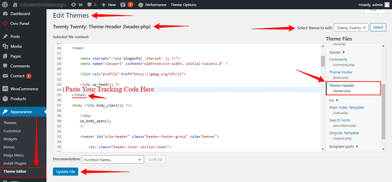 google analytics code in header dot php