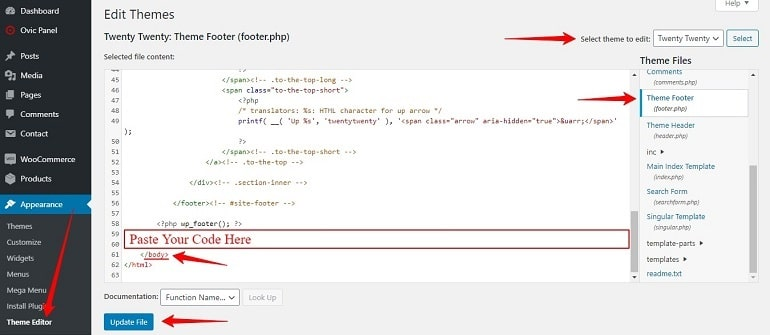 gtm code in the wordpress footer