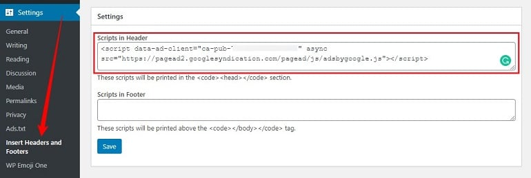 insert google adsense code in wordpress using insert headers & footers plugin