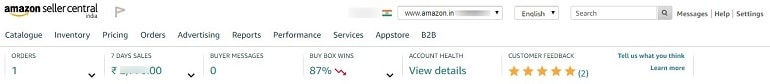 main menu items amazon india dashboard