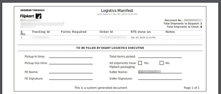 order shipping manifest