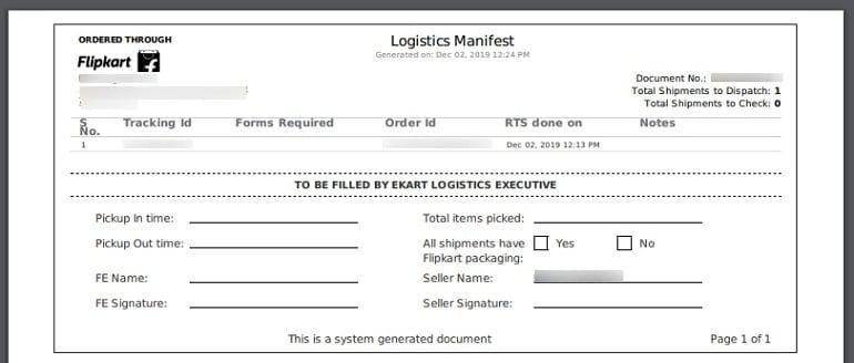 order shipping manifest