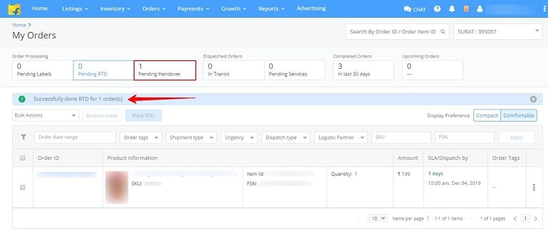 pending handover section in flipkart