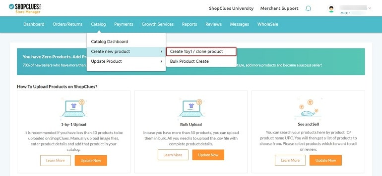 1 Click create 1 by 1 link in shopclues