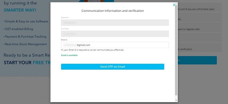 Communication Information and verification of email