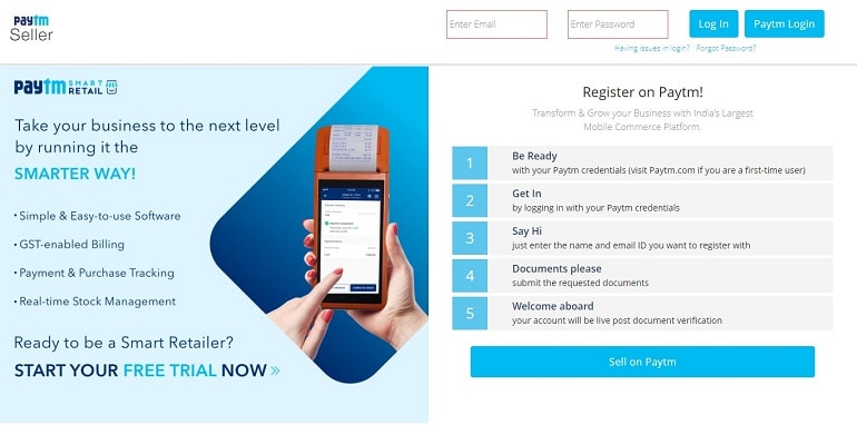 Paytm Marketplace Sign Up