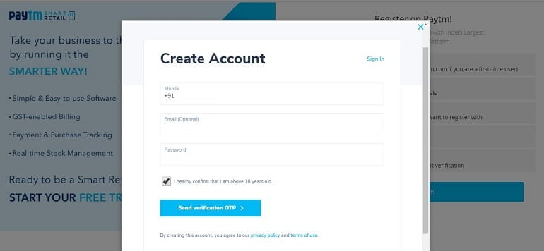 enter details to create account