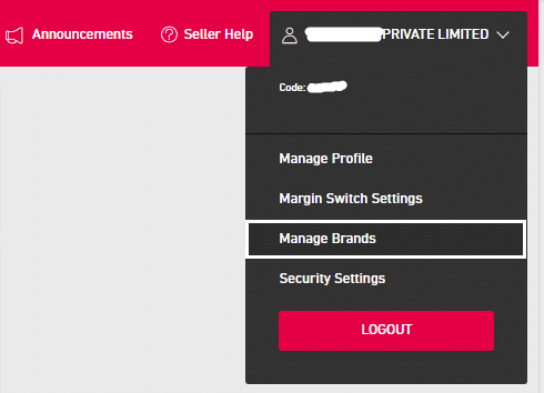 Manage brands drop down menu item in snapdeal dashboard