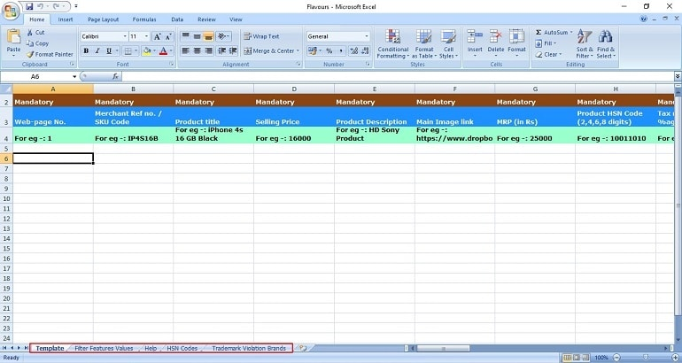ShopClues Bulk ProductListing Excel Template