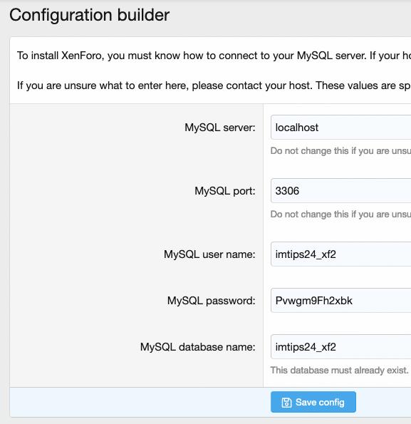 XenForo Database Configuration