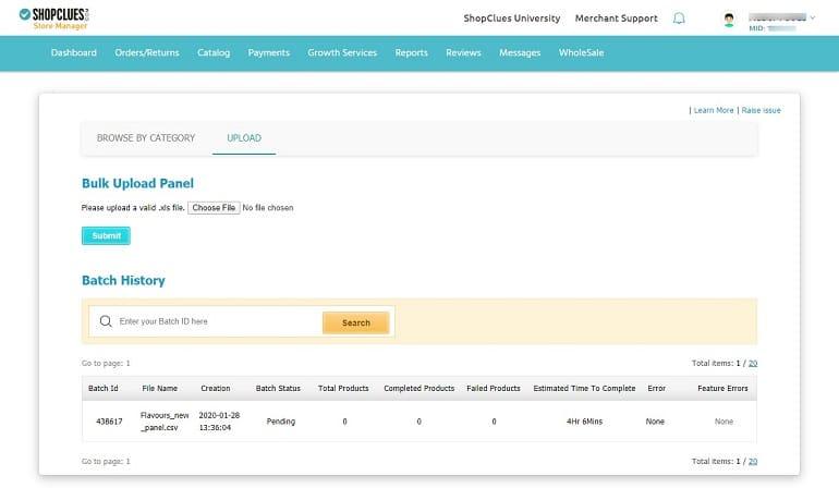 bulk excel sheet upload in shopclues