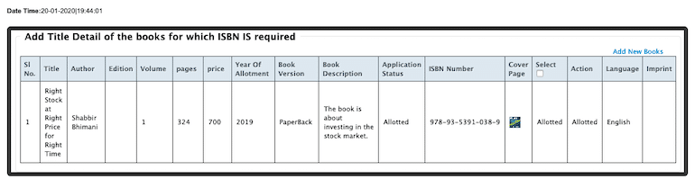 isbn allotted