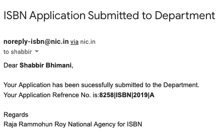 isbn application submitted