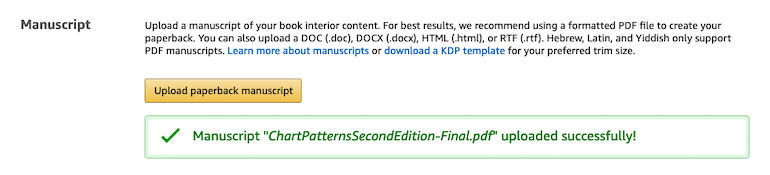 Manuscript of your book in Amazon KDP