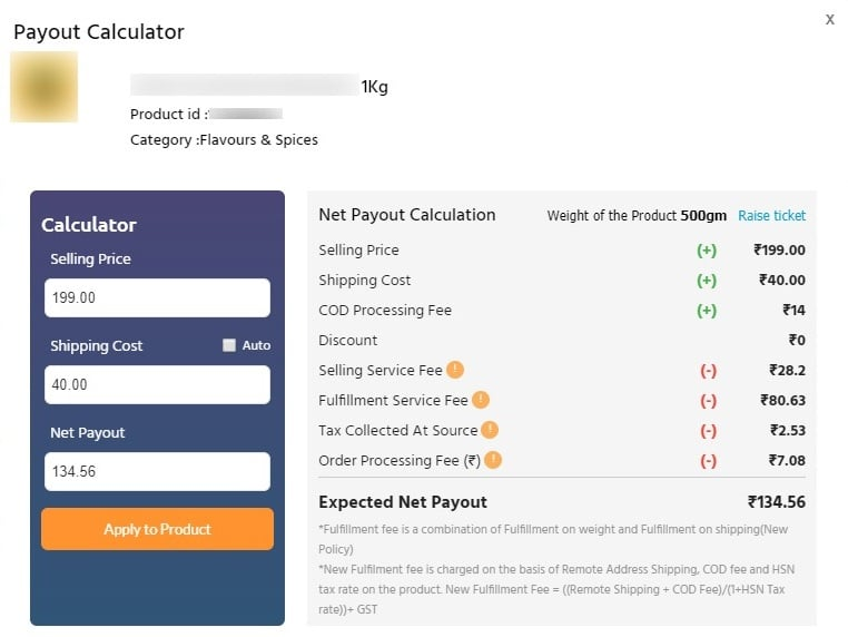 payout calculator in shopclues