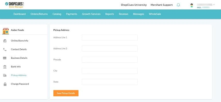 pickup address details in shopclues