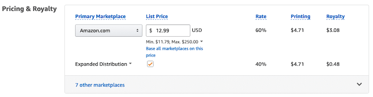 set price for your book in Amazon KDP