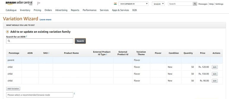add or update a product in an existing variation family amazon india