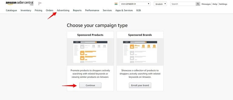 choose your campaign type amazon india