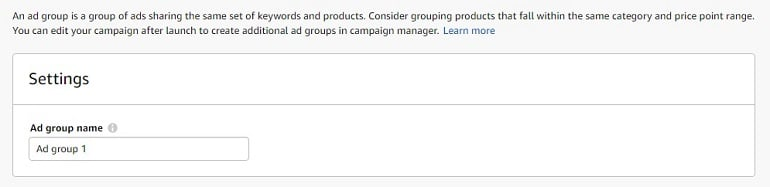 creating ad groups amazon india