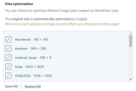 different image size optimization in imagify wordpress