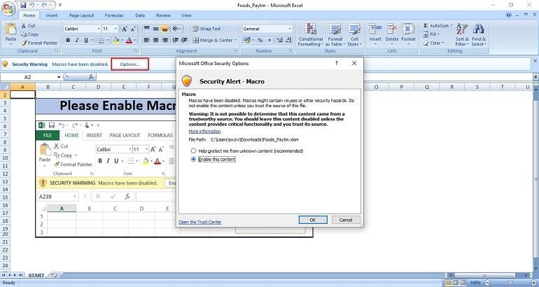 enable macro in paytm bulk excel template