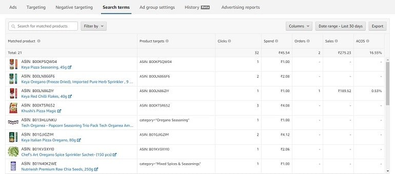 search terms in ad groups amazon