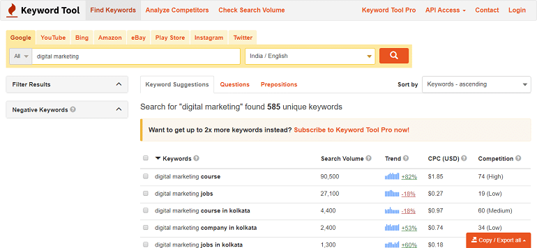 Search for digital marketing found 585 unique keywords