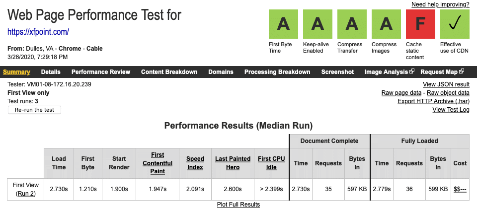 Super Cache WebPageTest