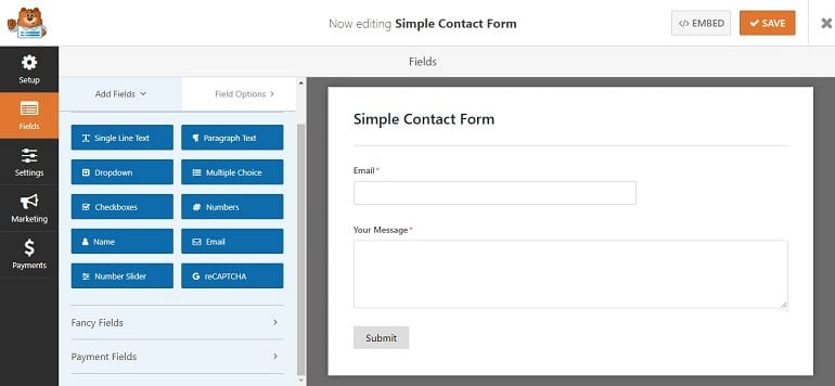 drag and drop form builder in wpforms